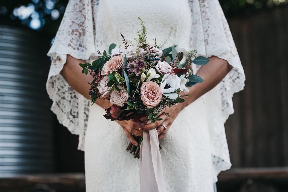 Bride Bridal Bouquet Flowers Floral Anemone Rose Blousy Greenery Pink Ribbon Llys Meddyg Wedding Hannah Miles Photography