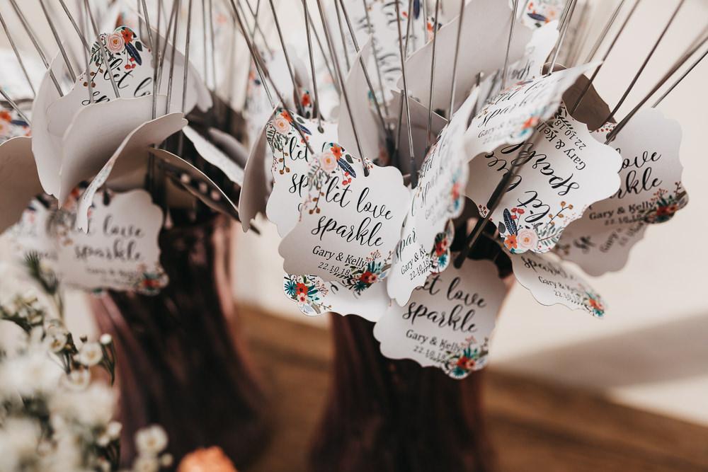 Let Love Sparkle Sparklers Llys Meddyg Wedding Hannah Miles Photography