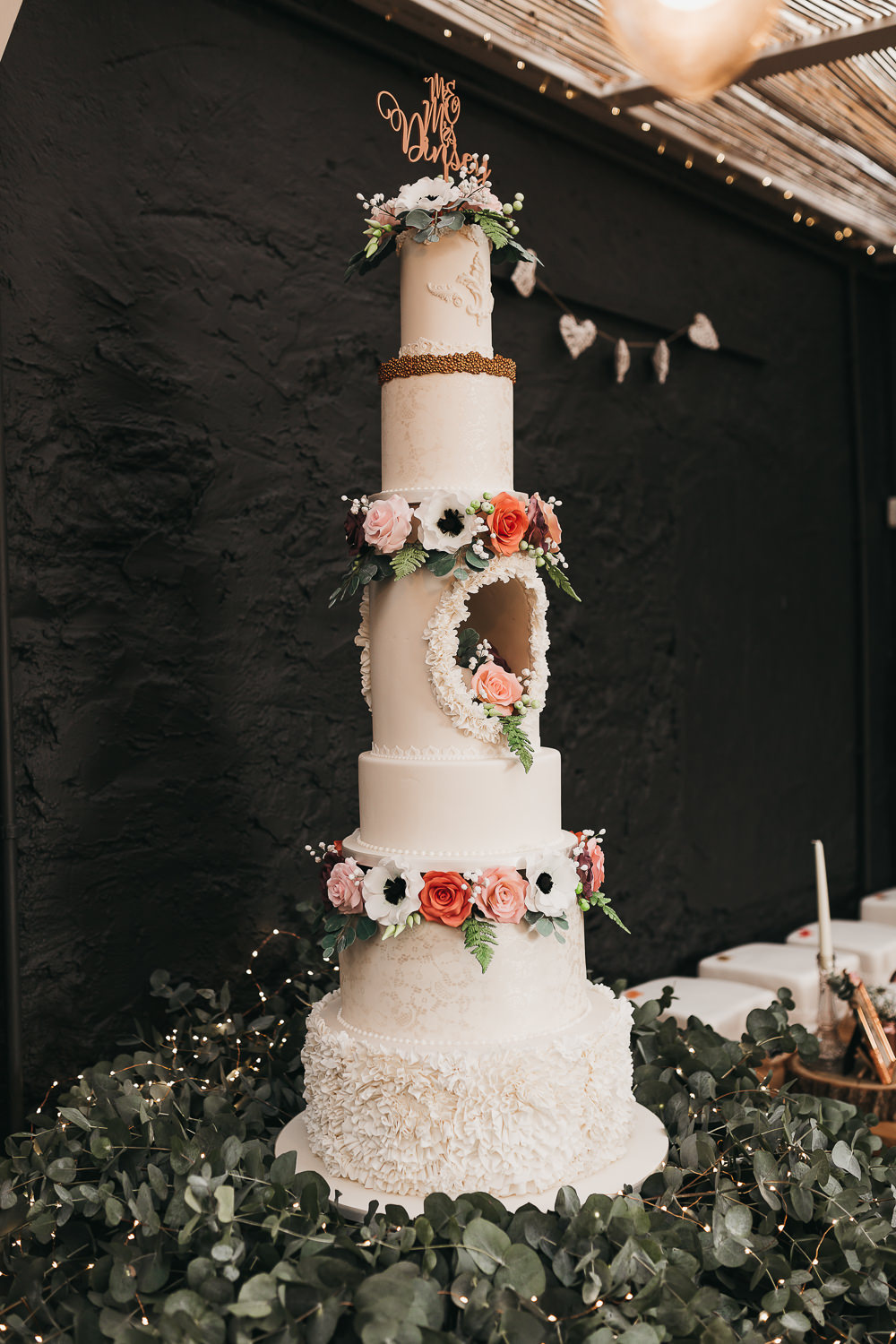 Six Tier Hollow Cake Showstopper Anemone Floral Laser Cut Topper Llys Meddyg Wedding Hannah Miles Photography