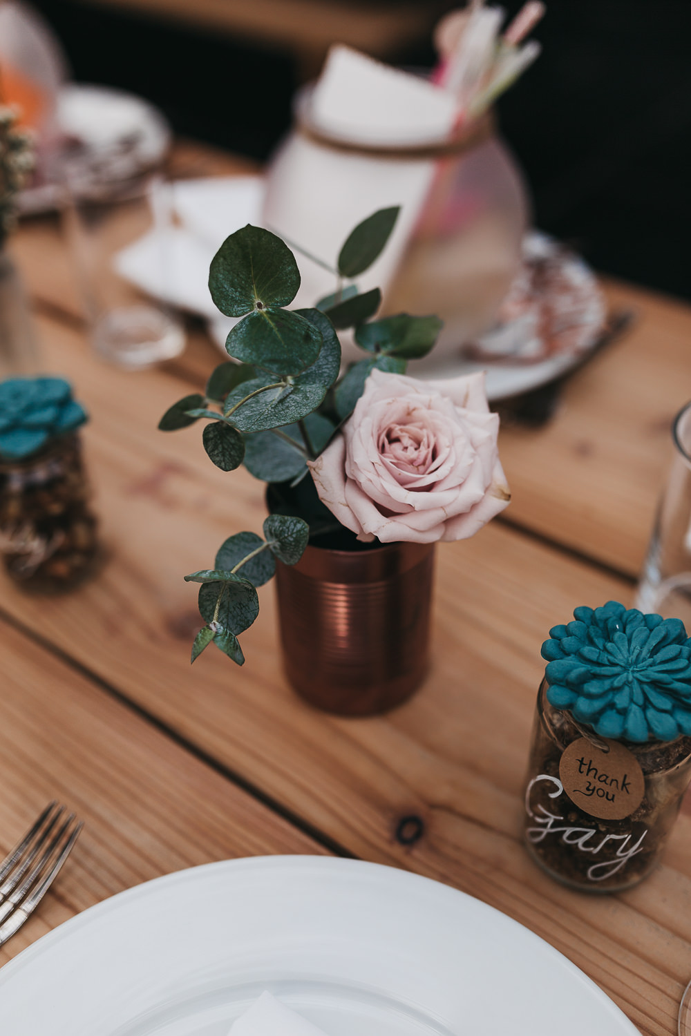 Succulent Favours Sprayed Tin Cans Rose Greenery Flowers Floral Llys Meddyg Wedding Hannah Miles Photography