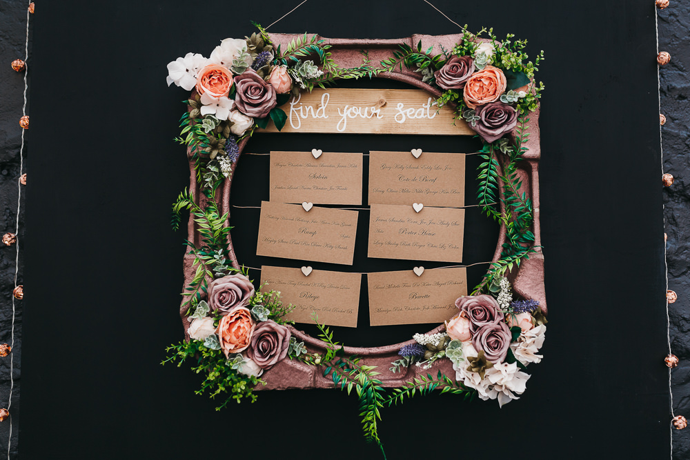 Seating Chart Table Plan Flowers Floral Roses Frame Llys Meddyg Wedding Hannah Miles Photography