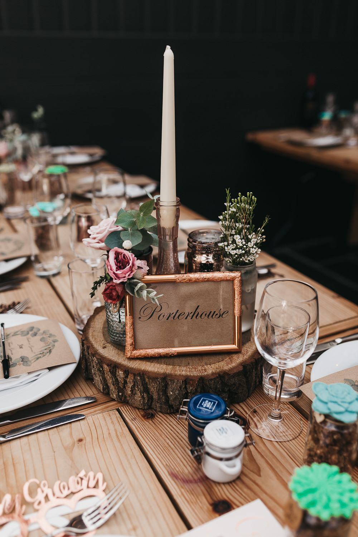 Table Name Number Wood Slice Log Centre Candle Llys Meddyg Wedding Hannah Miles Photography