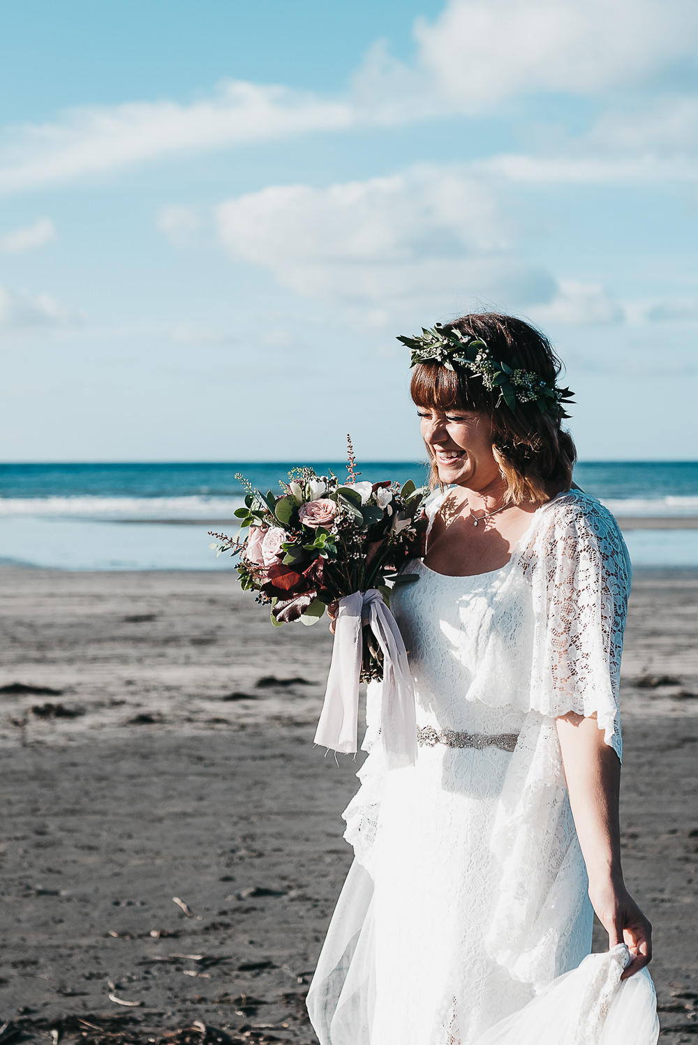 Bride Bridal Boho Sleeves Lace Dress Gown Greenery Floral Crown Sparkly Belt Bouquet Llys Meddyg Wedding Hannah Miles Photography