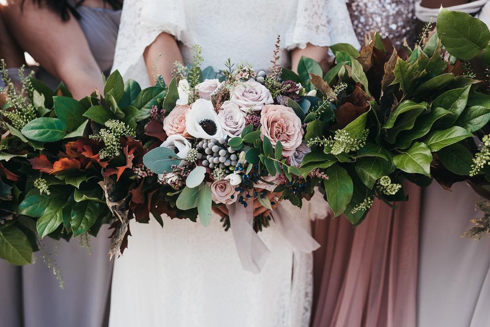 Bride Bridal Bouquet Anemone Rose Blousy Greenery Autumn Posy Llys Meddyg Wedding Hannah Miles Photography