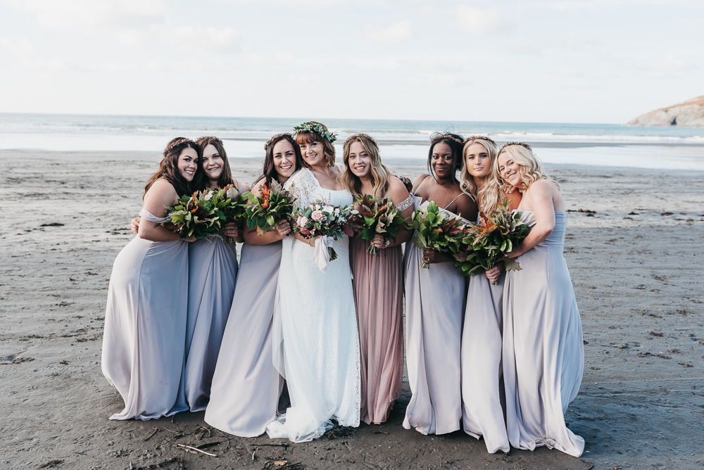 Bride Bridal Boho Sleeves Lace Dress Gown Greenery Floral Crown Taupe Heather Maxi Dress Floor Length Bridesmaids Llys Meddyg Wedding Hannah Miles Photography