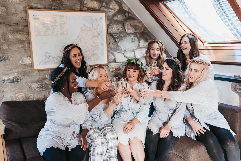 Bride Bridal Gowns Bridesmaids Floral Crowns Llys Meddyg Wedding Hannah Miles Photography