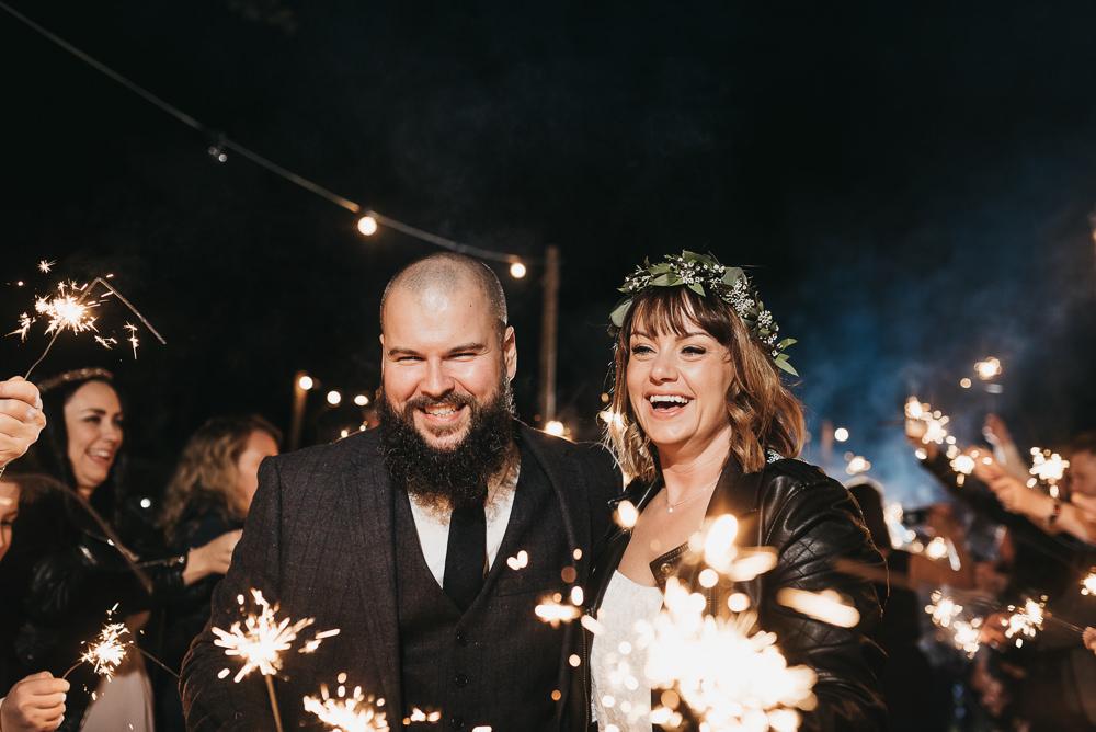 Sparkler Send Off Farewell Bride Groom Leather Jacket Llys Meddyg Wedding Hannah Miles Photography