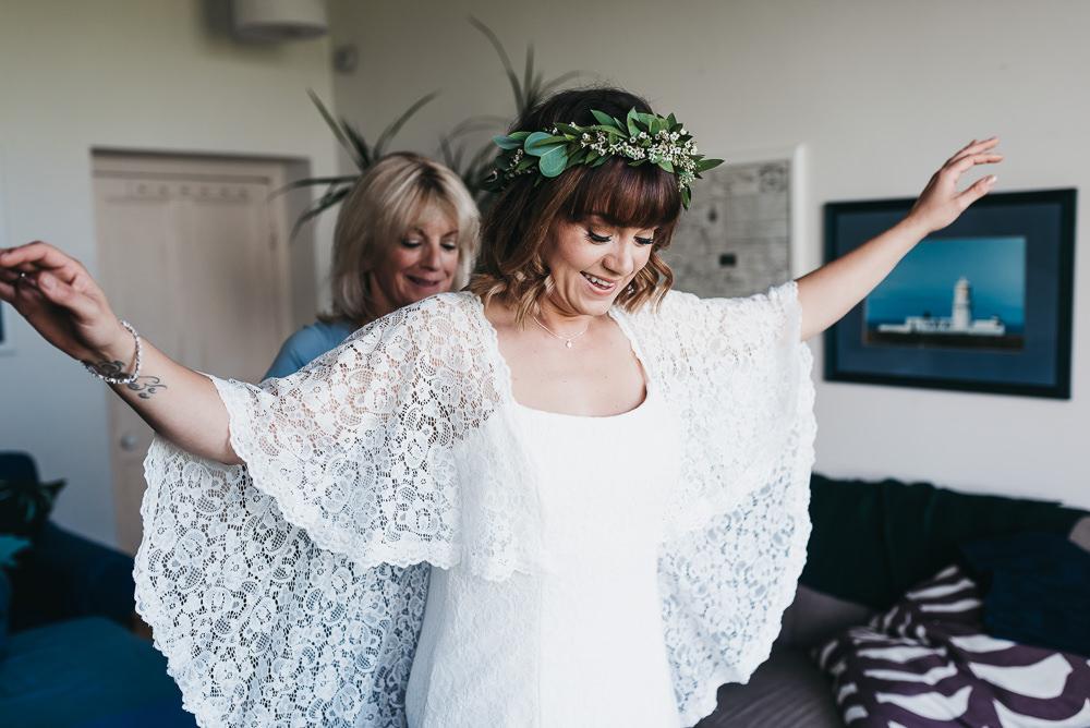 Bride Bridal Boho Sleeves Lace Dress Gown Greenery Floral Crown Llys Meddyg Wedding Hannah Miles Photography