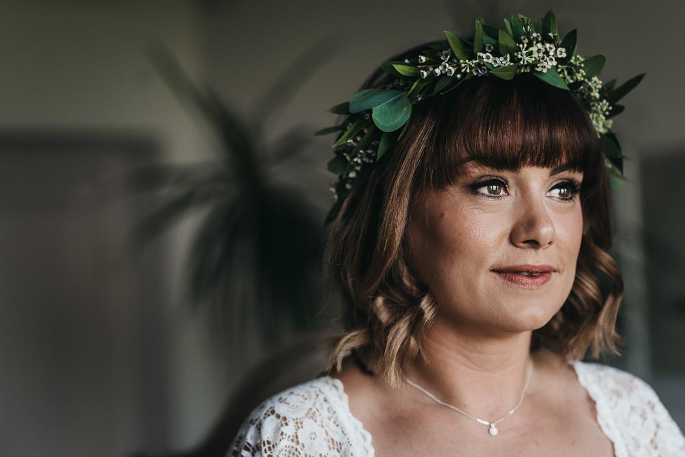 Bride Bridal Boho Greenery Floral Crown Llys Meddyg Wedding Hannah Miles Photography