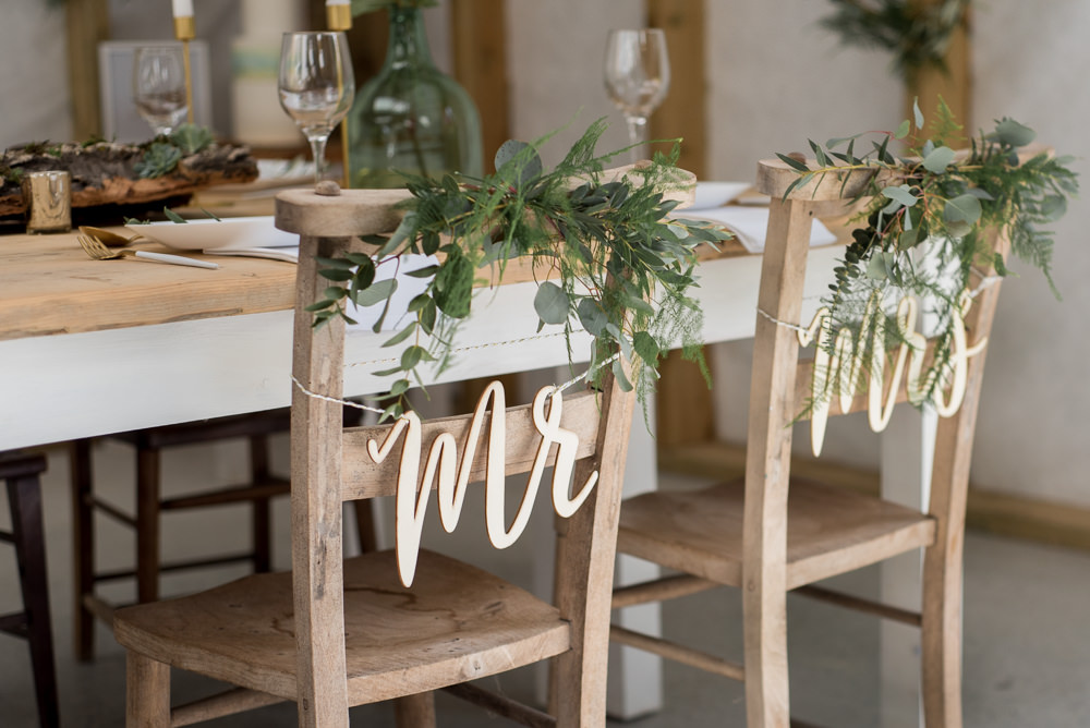 Sign Signage Signs Chairs Greenery Foliage Minimalist Wedding Ideas Nicola Belson Photography