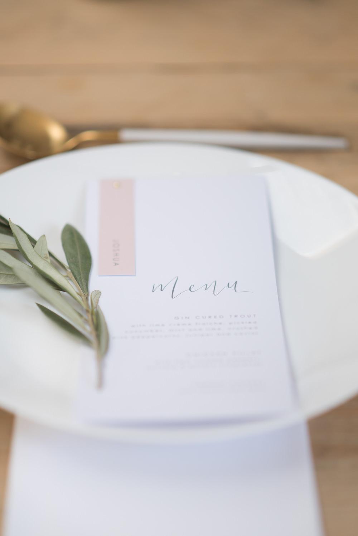 Place Setting Greenery Stationery Menu Calligraphy Pink Minimalist Wedding Ideas Nicola Belson Photography