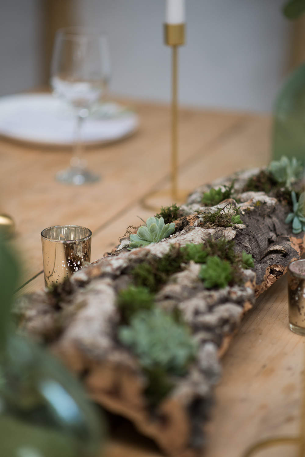 Log Centrepiece Decor Moss Succulents Minimalist Wedding Ideas Nicola Belson Photography