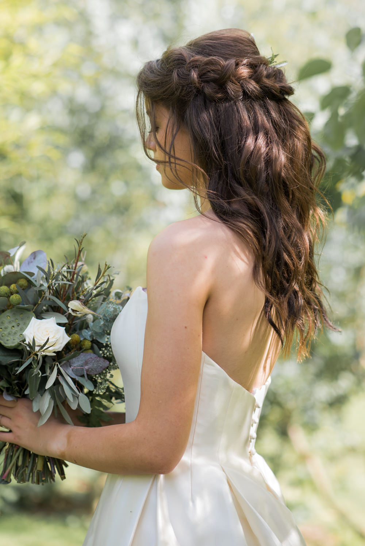 Flowers Bride Bridal Hair Loose Waves Half Up Half Down Braid Halo Plait Crown Minimalist Wedding Ideas Nicola Belson Photography
