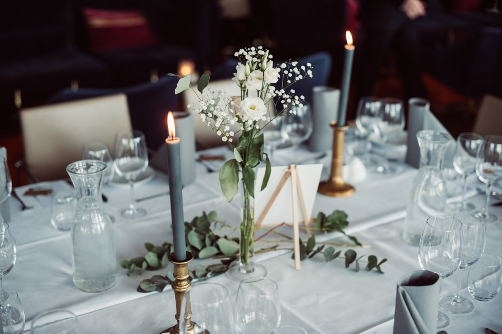 Table Flowers Centrepiece Decor Candles Greenery Foliage Norway Wedding Maximilian Photography