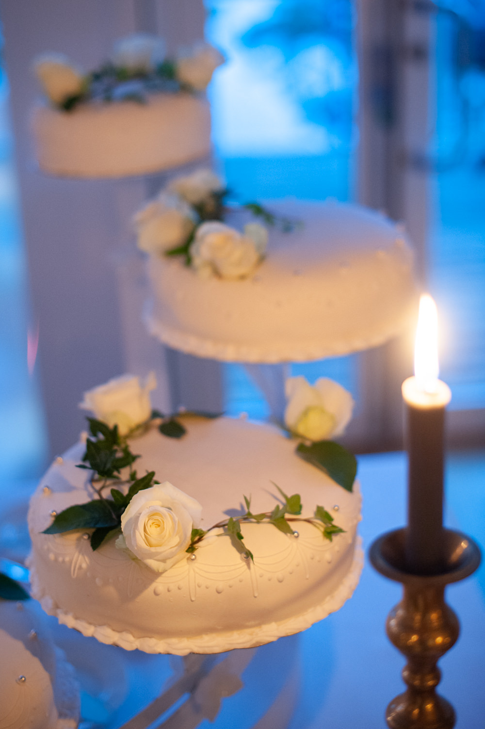 Cake Iced Flowers Candles Greenery Norway Wedding Maximilian Photography
