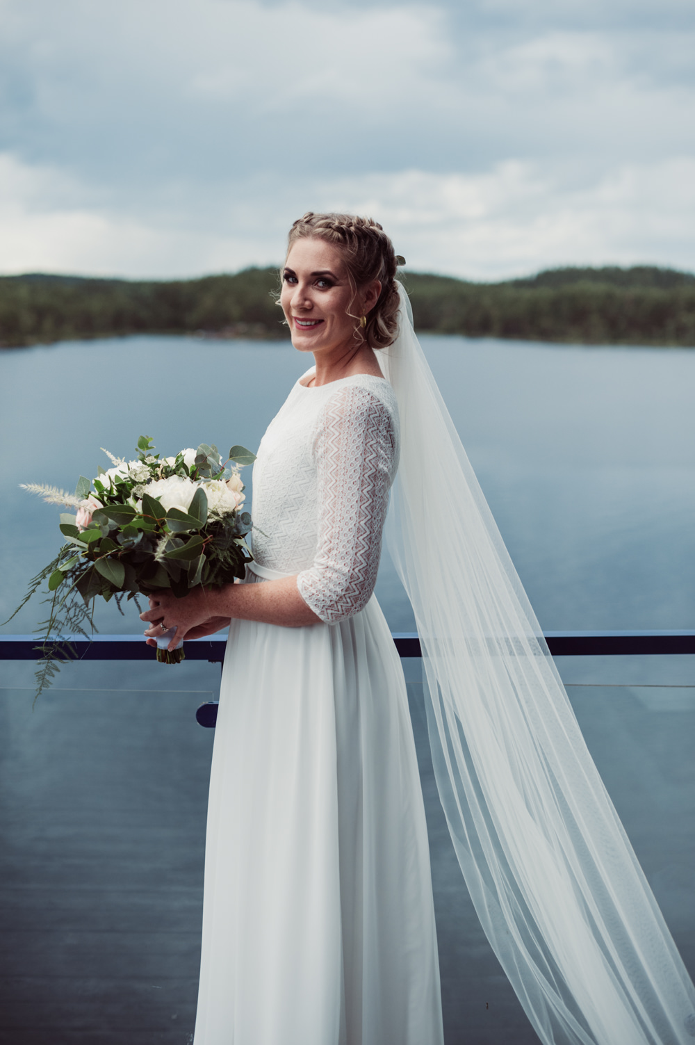 Bride Bridal Dress Gown Long Sleeves Lace Veil Norway Wedding Maximilian Photography