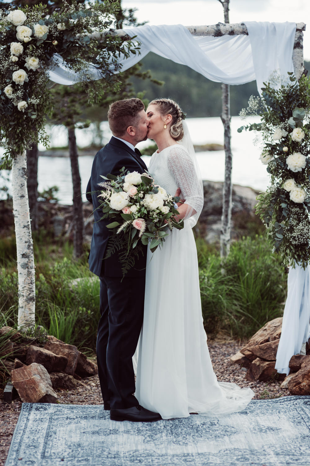 Outdoor Ceremony Backdrop Flower Arch Fabric Greenery Foliage Aisle Norway Wedding Maximilian Photography