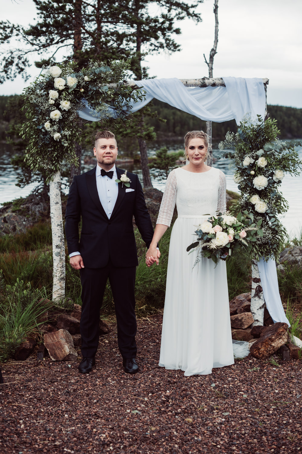 Norway Wedding Maximilian Photography Outdoor Ceremony Backdrop Flower Arch Fabric Greenery Foliage Aisle