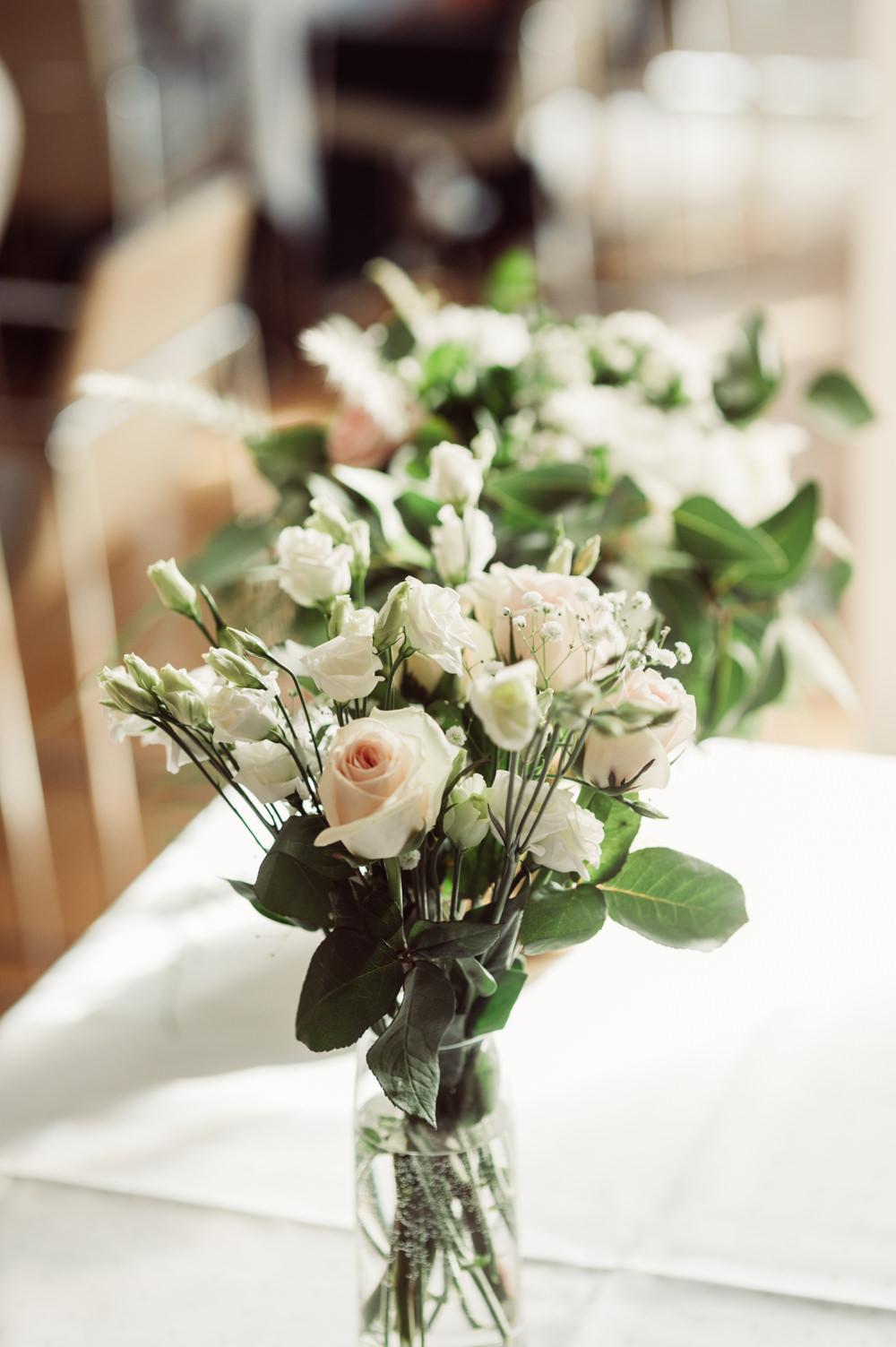 Flowers Table Centrepiece Rose Peony Greenery Foliage Norway Wedding Maximilian Photography