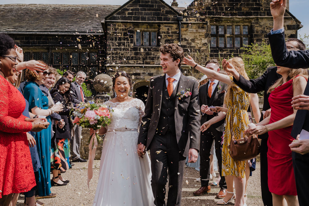 Bride Bridal Lace Long Sleeve Full Skirt Olive Suit Groom Peony Multicoloured Bouquet Confetti Oakwell Hall Wedding Jenna Kathleen Photographer