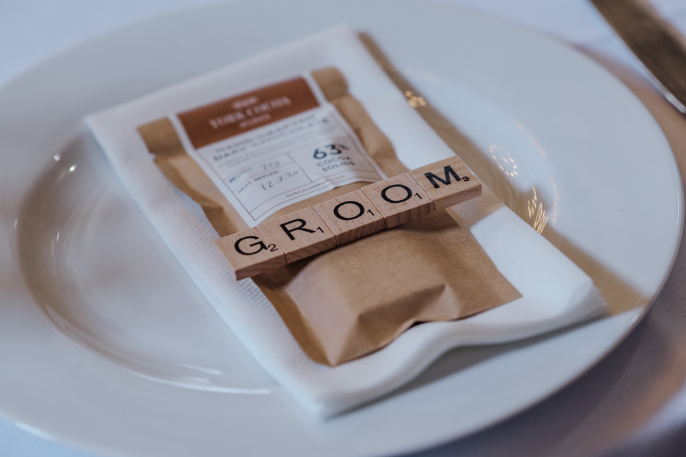 Place Card Name Groom Scrabble Oakwell Hall Wedding Jenna Kathleen Photographer