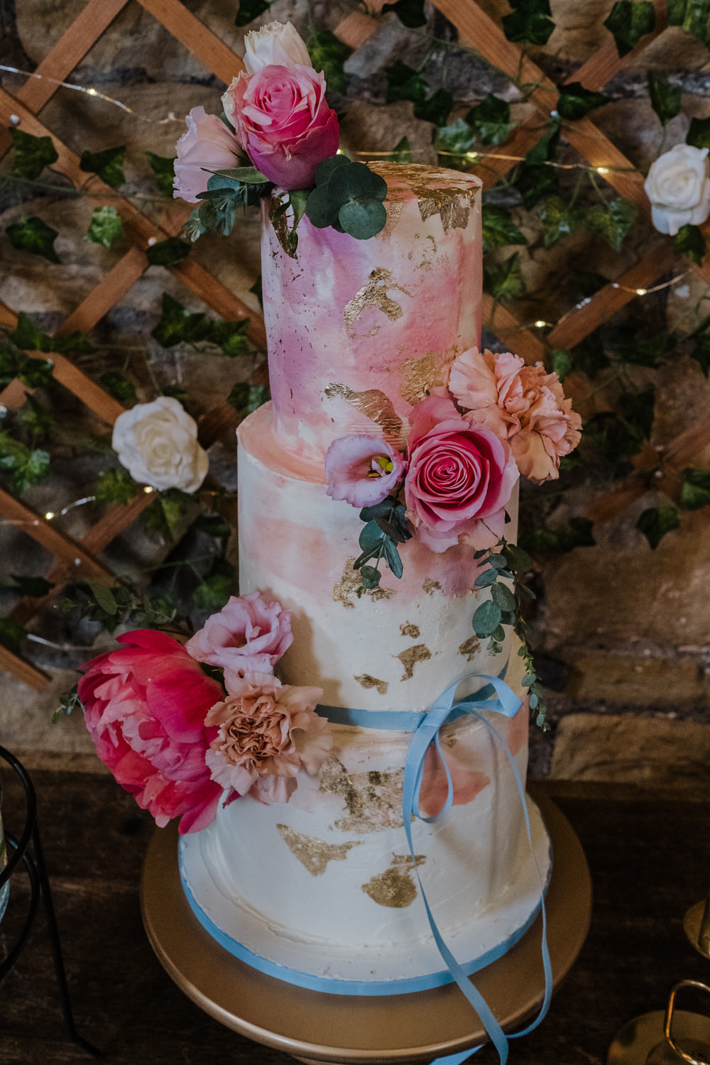 Cake Gold Leaf Flowers Florals Pink Ribbon Oakwell Hall Wedding Jenna Kathleen Photographer