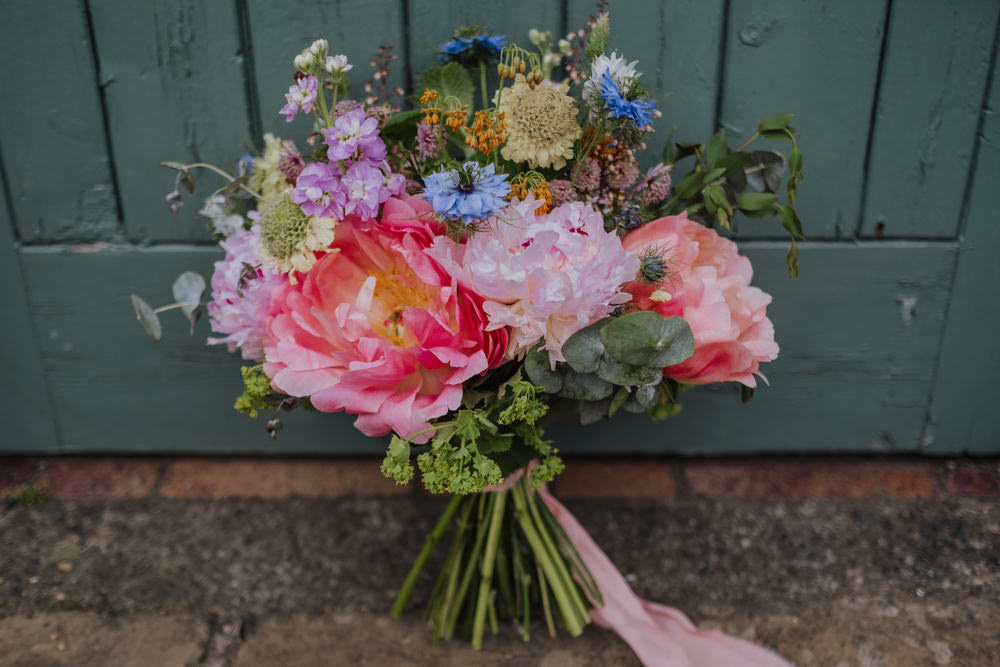 Bride Bridal Peony Bouquet Wildflowers Multicoloured Ribbon Oakwell Hall Wedding Jenna Kathleen Photographer