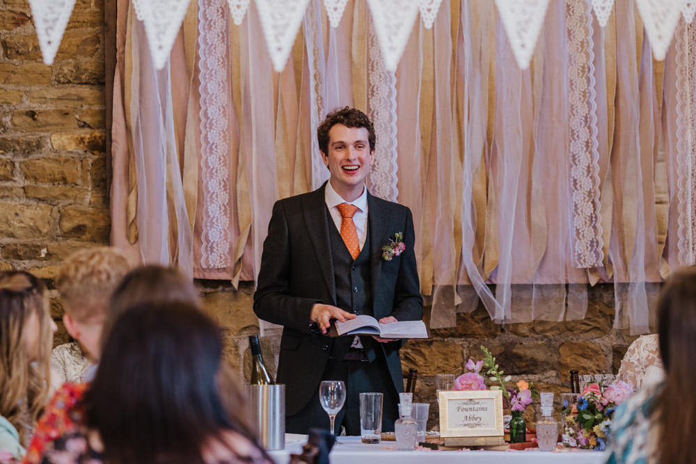 Olive Suit Groom Waistcoat Three Piece Lace Banner Bunting Oakwell Hall Wedding Jenna Kathleen Photographer