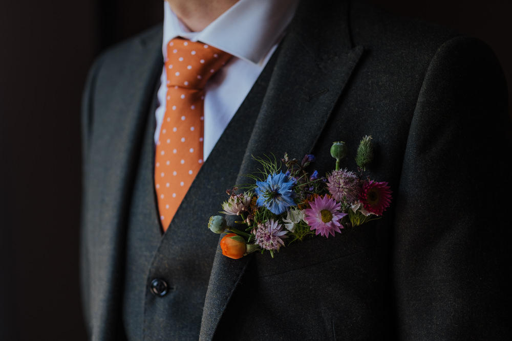 Groom Olive Three Piece Suit Waistcoat Pocket Meadow Buttonhole Alternative Orange Spotty Dotty Tie Oakwell Hall Wedding Jenna Kathleen Photographer