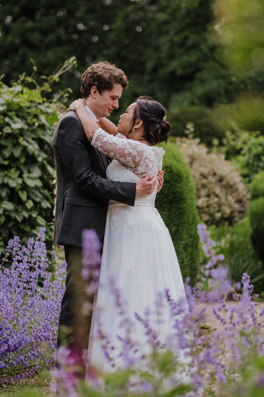 Bride Bridal Lace Long Sleeve Full Skirt Olive Suit Groom Oakwell Hall Wedding Jenna Kathleen Photographer