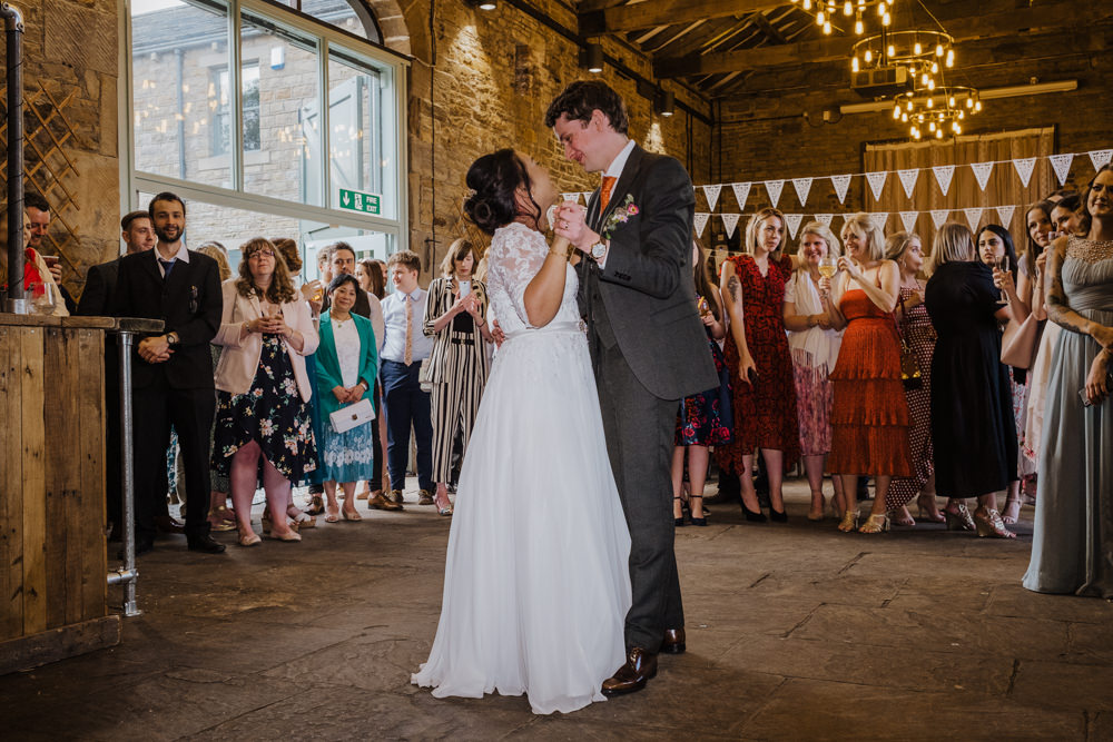 Bride Bridal Lace Long Sleeve Full Skirt Olive Suit Groom Bunting Oakwell Hall Wedding Jenna Kathleen Photographer