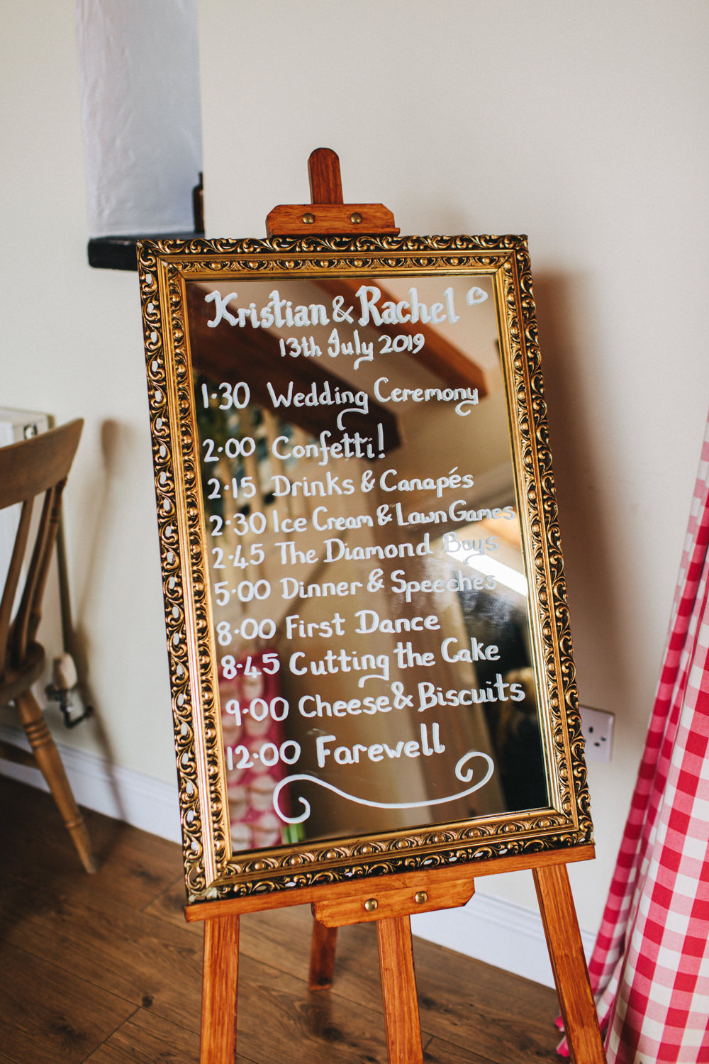 Mirror Sign Signage Sigs Calligraphy Order of the Day Outbuildings Wedding Jessica O'Shaughnessy Photography