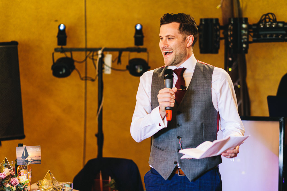 Groom Suit Blue Check Waistcoat Red Burgundy Tie Outbuildings Wedding Jessica O'Shaughnessy Photography