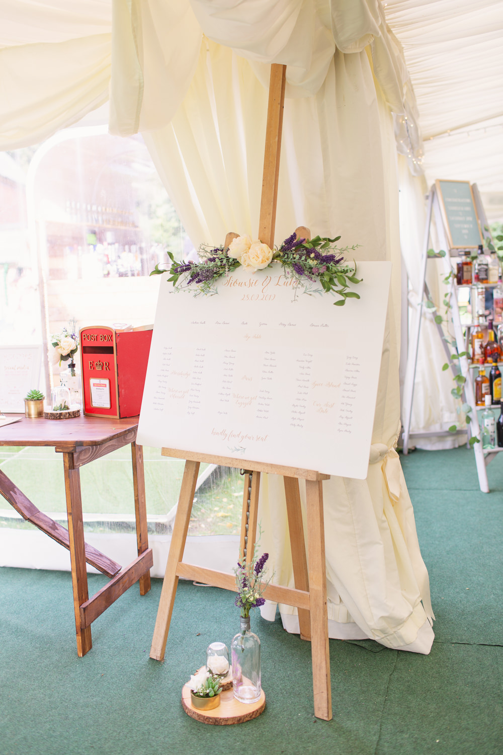 Table Plan Seating Chart Easel Greenery Foliage Railway Station Wedding Cotton Candy Weddings