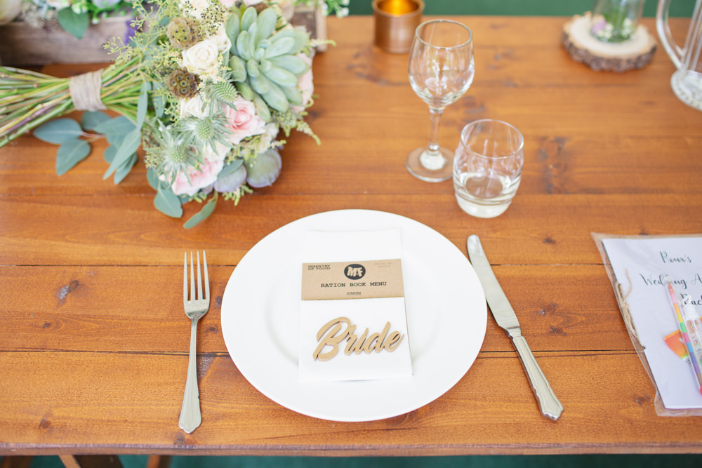 Place Setting Laser Cut Place Name Railway Station Wedding Cotton Candy Weddings