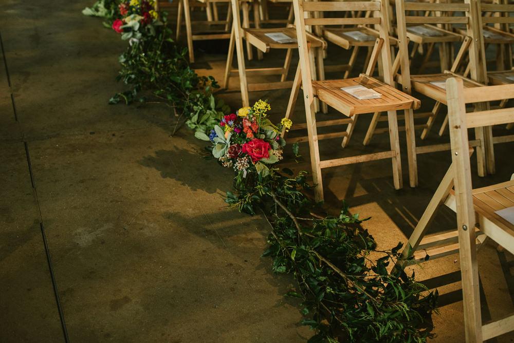 Aisle Flowers Riverside London Wedding Ellie Gillard Photography