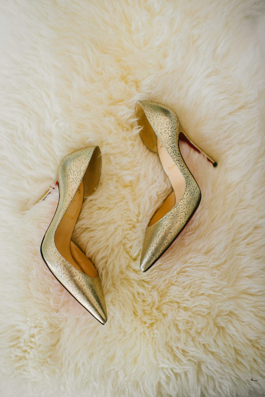 Gold Shoes Bride Bridal Christian Louboutin Riverside London Wedding Ellie Gillard Photography