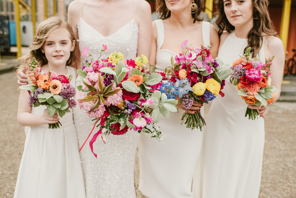 Bridesmaids Bridesmaid Dress Dresses White Colourful Bouquets Riverside London Wedding Ellie Gillard Photography
