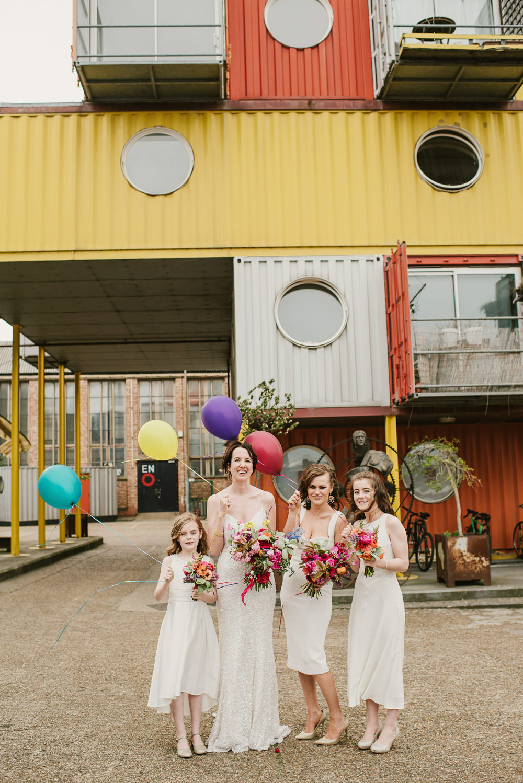 Bridesmaids Bridesmaid Dress Dresses White Balloons Riverside London Wedding Ellie Gillard Photography