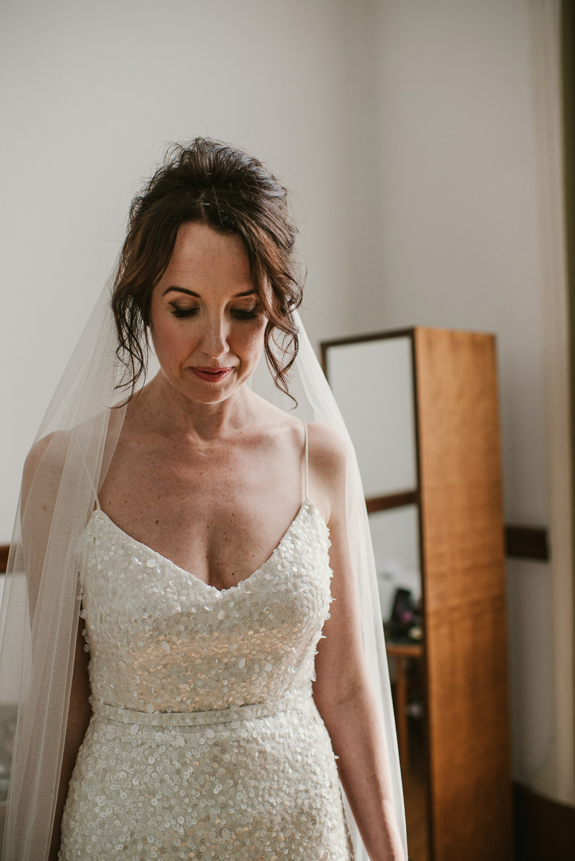 Karen Willis Holmes Sequin Dress Gown Bride Bridal Veil Riverside London Wedding Ellie Gillard Photography