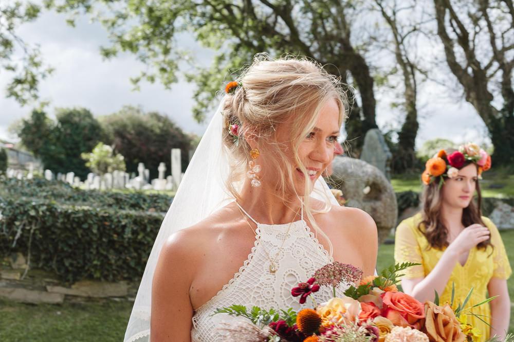 Bride Bridal Hair Style Up Do Flowers Veil Rock Wedding Cornwall Robin Studios