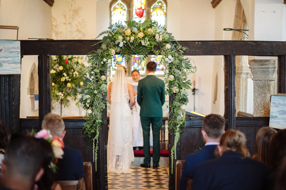 Church Flowers Aisle Altar Flower Arch Rock Wedding Cornwall Robin Studios
