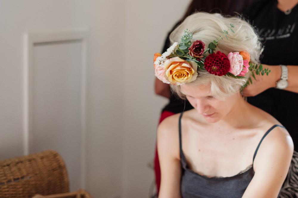 Bride Bridal Bridesmaids Flower Crown Red Orange Dahlia Rose Rock Wedding Cornwall Robin Studios