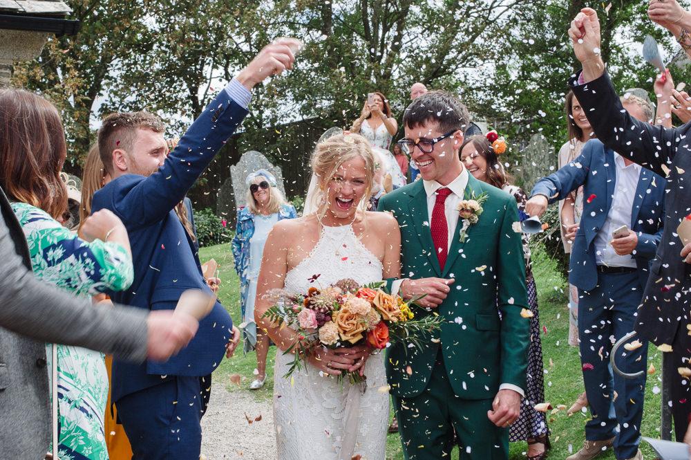 Confetti Throw Rock Wedding Cornwall Robin Studios