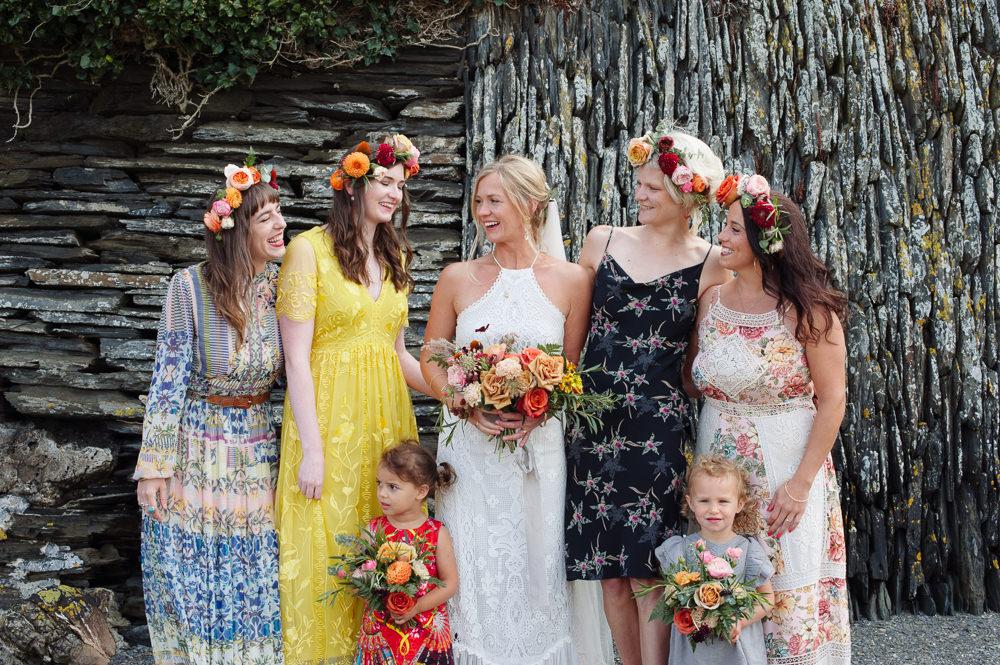 Mismatched Bridesmaid Bridesmaids Dress Dresses Flower Crowns Rock Wedding Cornwall Robin Studios