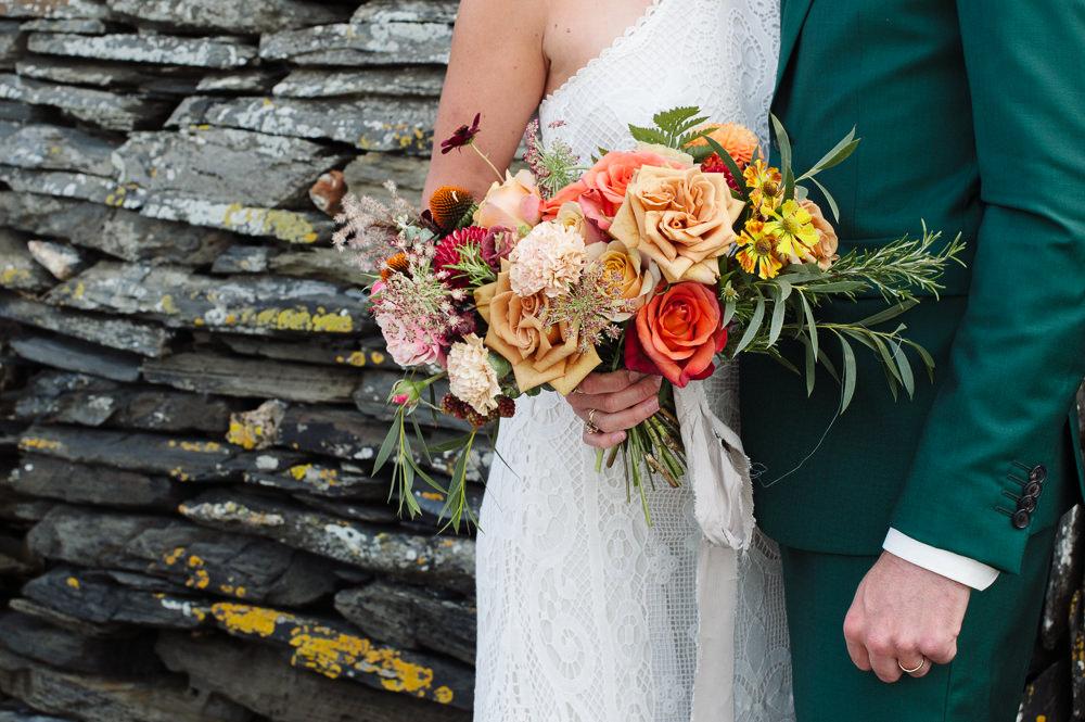 Bouquet Flowers Bride Bridal Orange Yellow Rose Dahlia Rock Wedding Cornwall Robin Studios