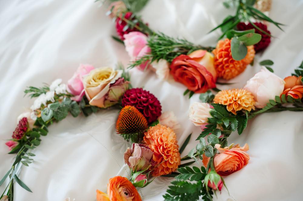 Bride Bridal Flower Crown Red Orange Dahlia Rose Rock Wedding Cornwall Robin Studios