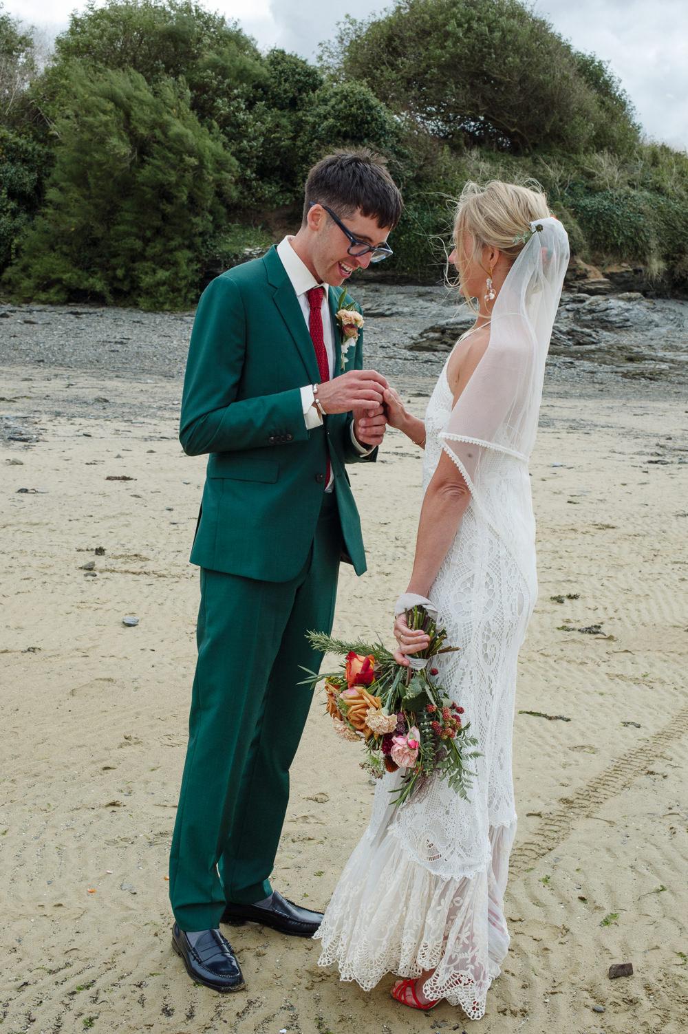 Groom Suit Green Red Tie Rock Wedding Cornwall Robin Studios
