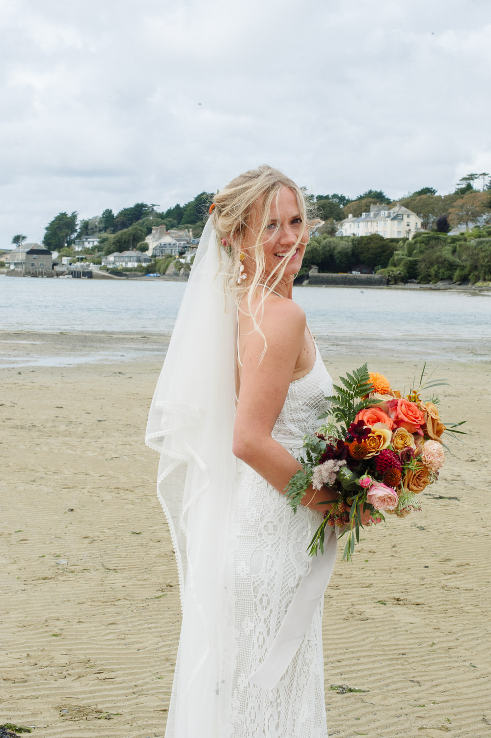Bride Bridal Dress Gown Spell & The Gypsy Collective Crochet Strappy Veil Rock Wedding Cornwall Robin Studios