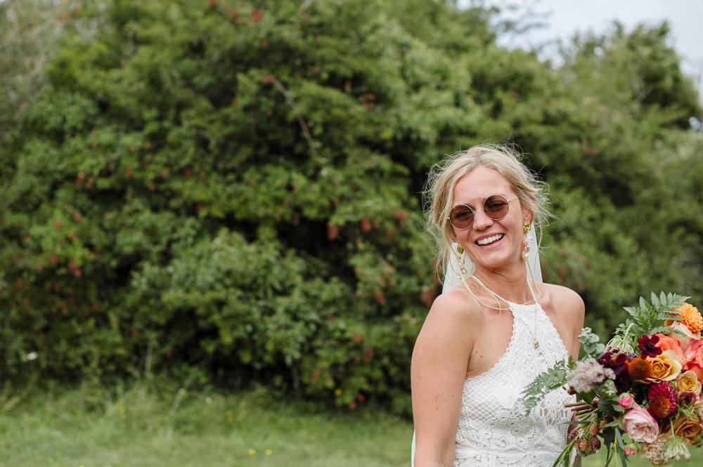 Bride Bridal Sunglasses Rock Wedding Cornwall Robin Studios